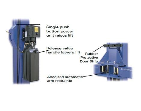 q10 2 post lift ergonomic controls
