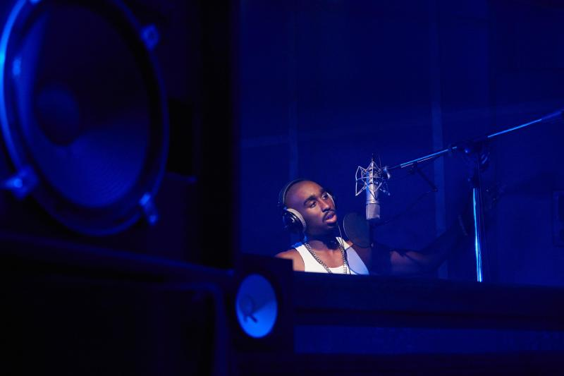 Tupac Shakur (Demetrius Shipp Jr) in the recording studio in 'All Eyez on Me' - DOP Peter Menzies Jr.jpg