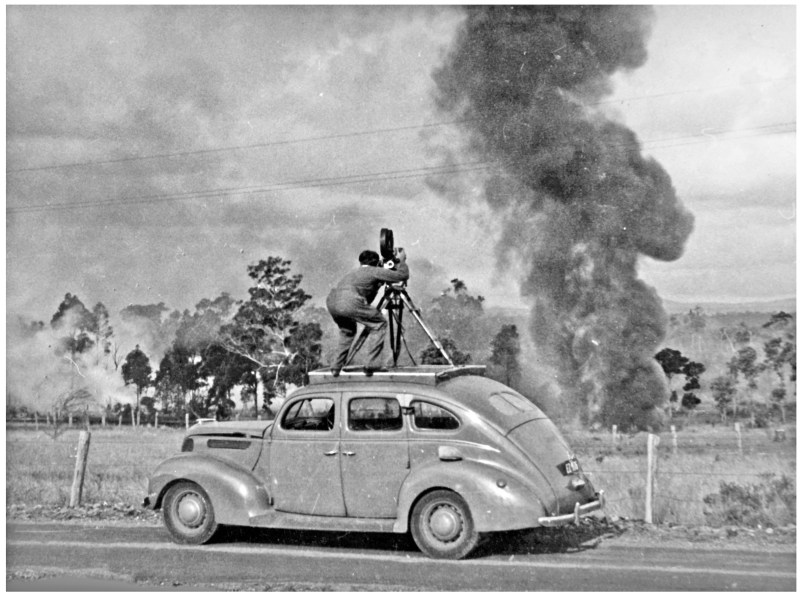 Syd Wood ACS filming a bushfire near Cessnock NSW in 1949 - PHOTO Courtesy Ron Windon ACS