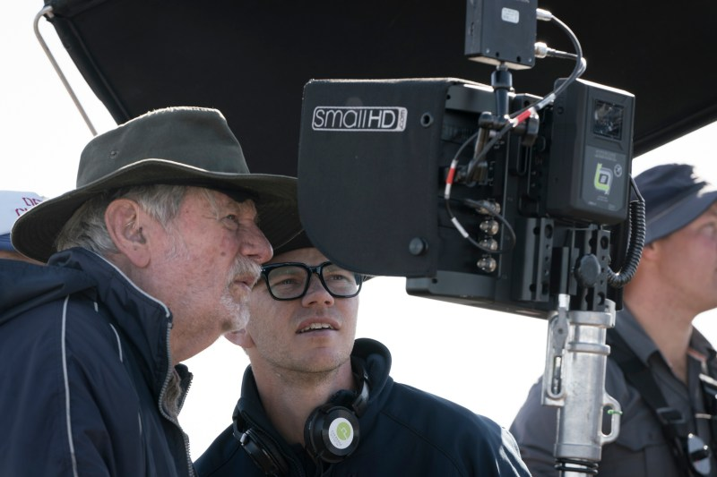 Cinematographer Don McAlpine ACS ASC and director Jeffrey Walker checking a shot, on location filming 'Lambs of God' - PHOTO Mark Rogers