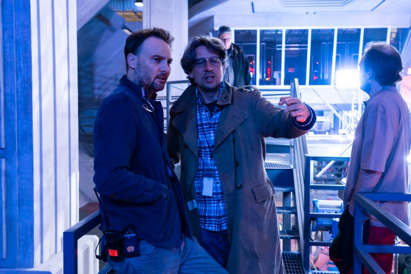 Cinematographer Lachlan Milne with Visual Effects Supervisor Paul Graff on the set of the third season of Netflix's 'Stranger Things' - PHOTO Tina Rowden