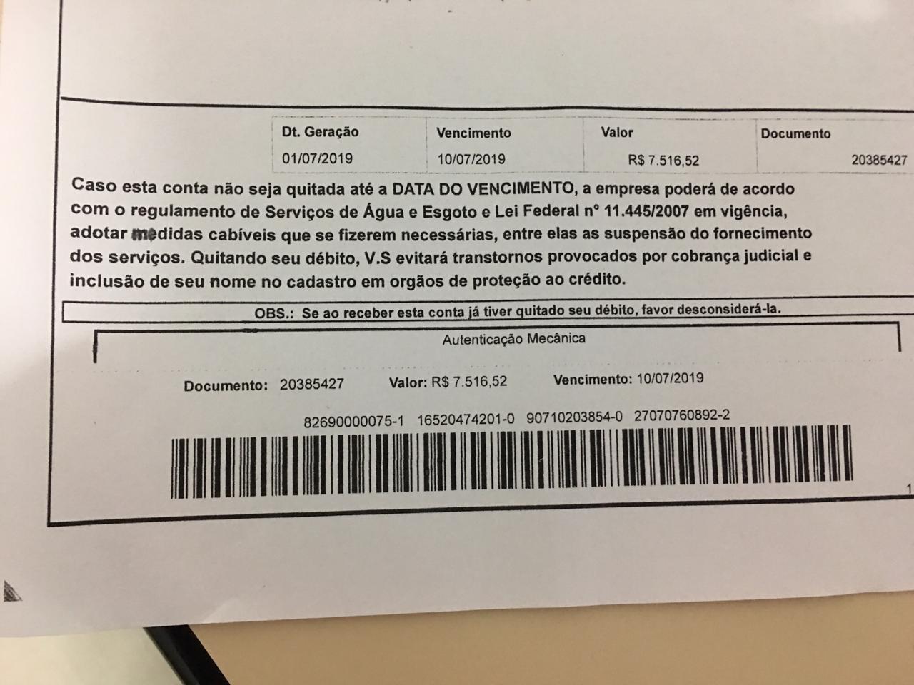 Moradora de Tarauacá recebe conta de água do Depasa no valor de R$ 7 mil reais