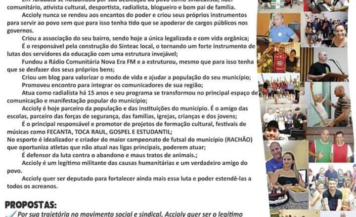 TARAUACÁ -AC: No último dia de campanha, o fundador da Rádio Nova Era FM e professor Raimundo Accioly apresenta carta com as principais propostas aos eleitores