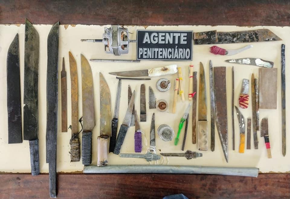 ACRE: Forças Segurança realiza operação em presídio da capital e apreende diversos objetos ilícitos