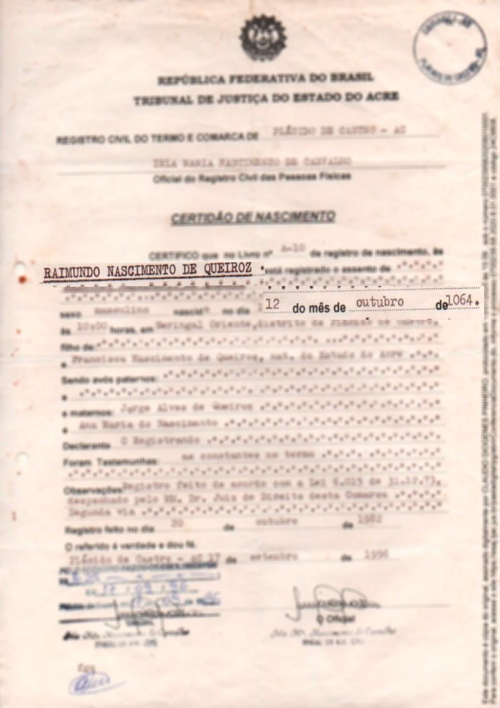 No AC, homem não consegue tirar 2ª via de documentos porque tem 955 anos na certidão de nascimento