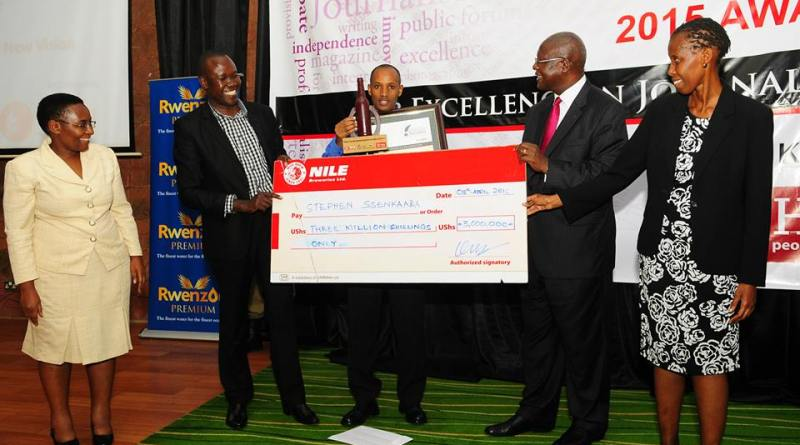 Stephen Ssenkaaba, winner of the Nile Breweries Award for Exceptional Journalism