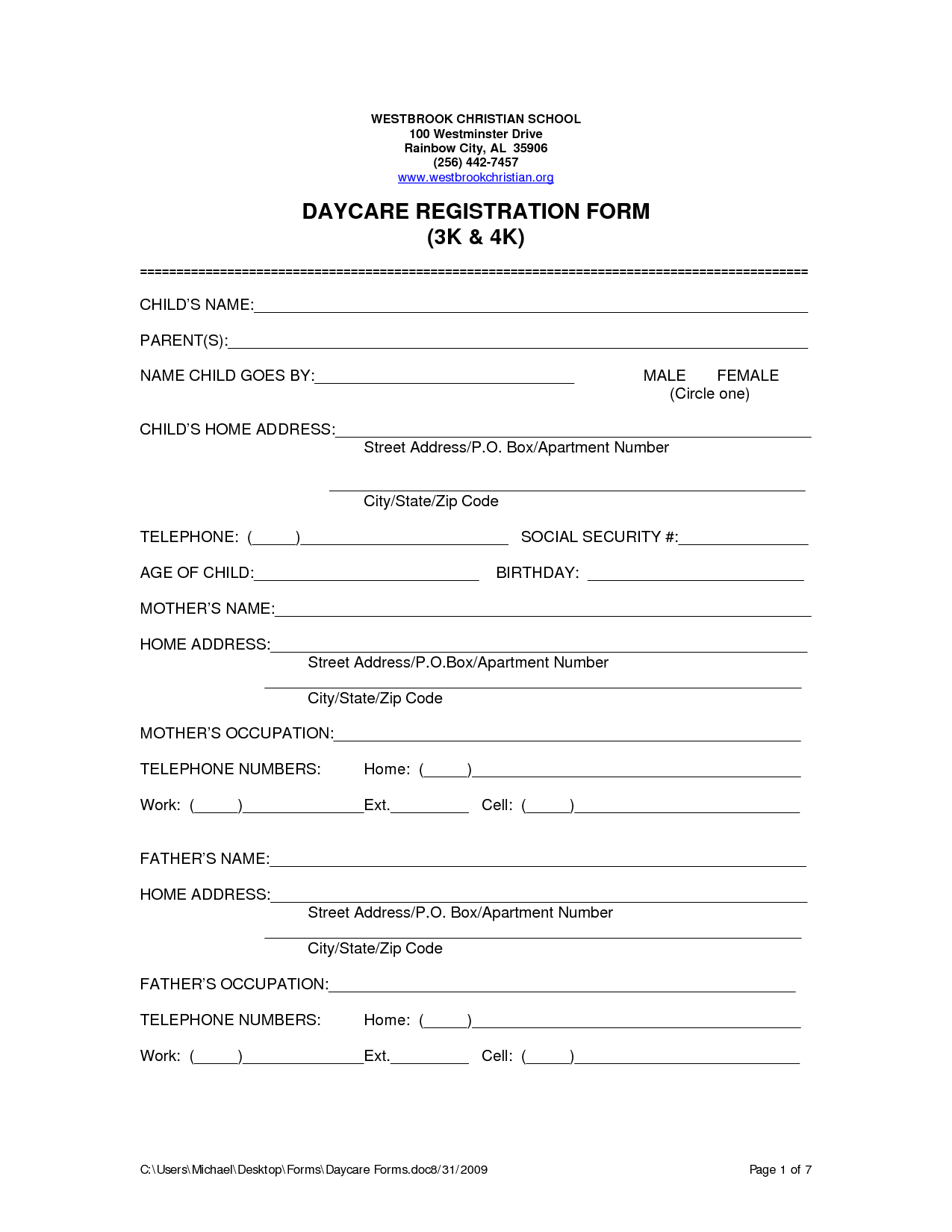 Daycare Forms Printable Free
