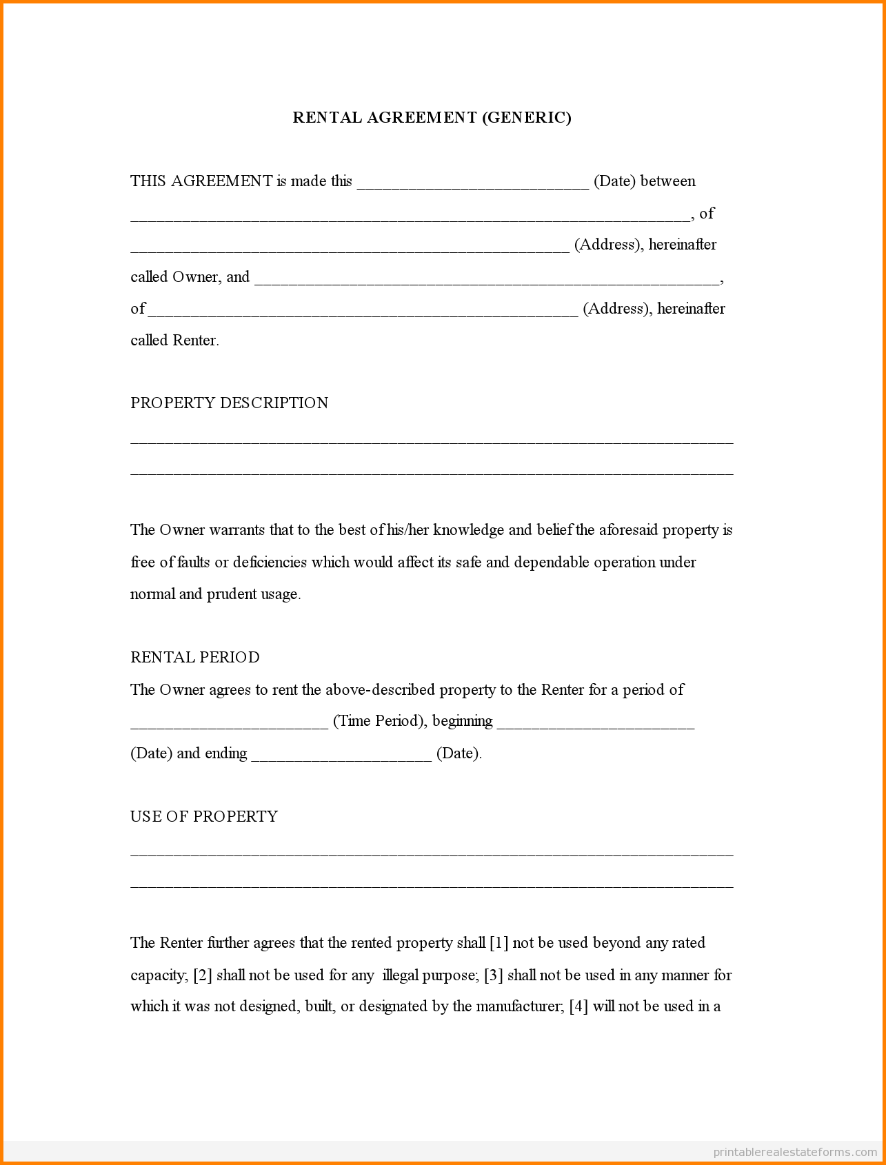 Free Printable Lease Forms