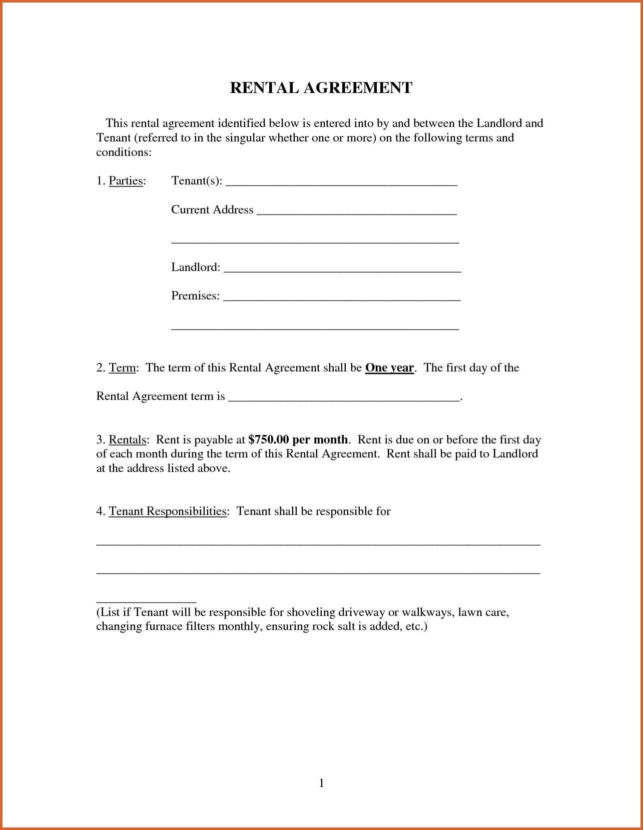Free Printable Rental Forms