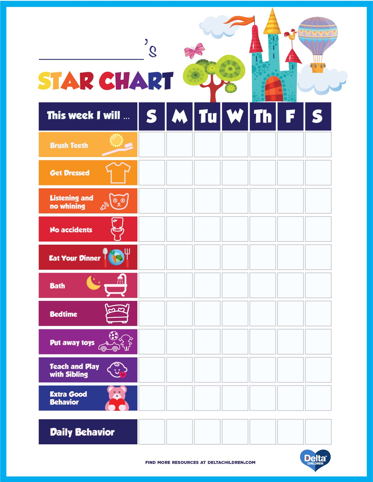 Good Behavior Chart Printable