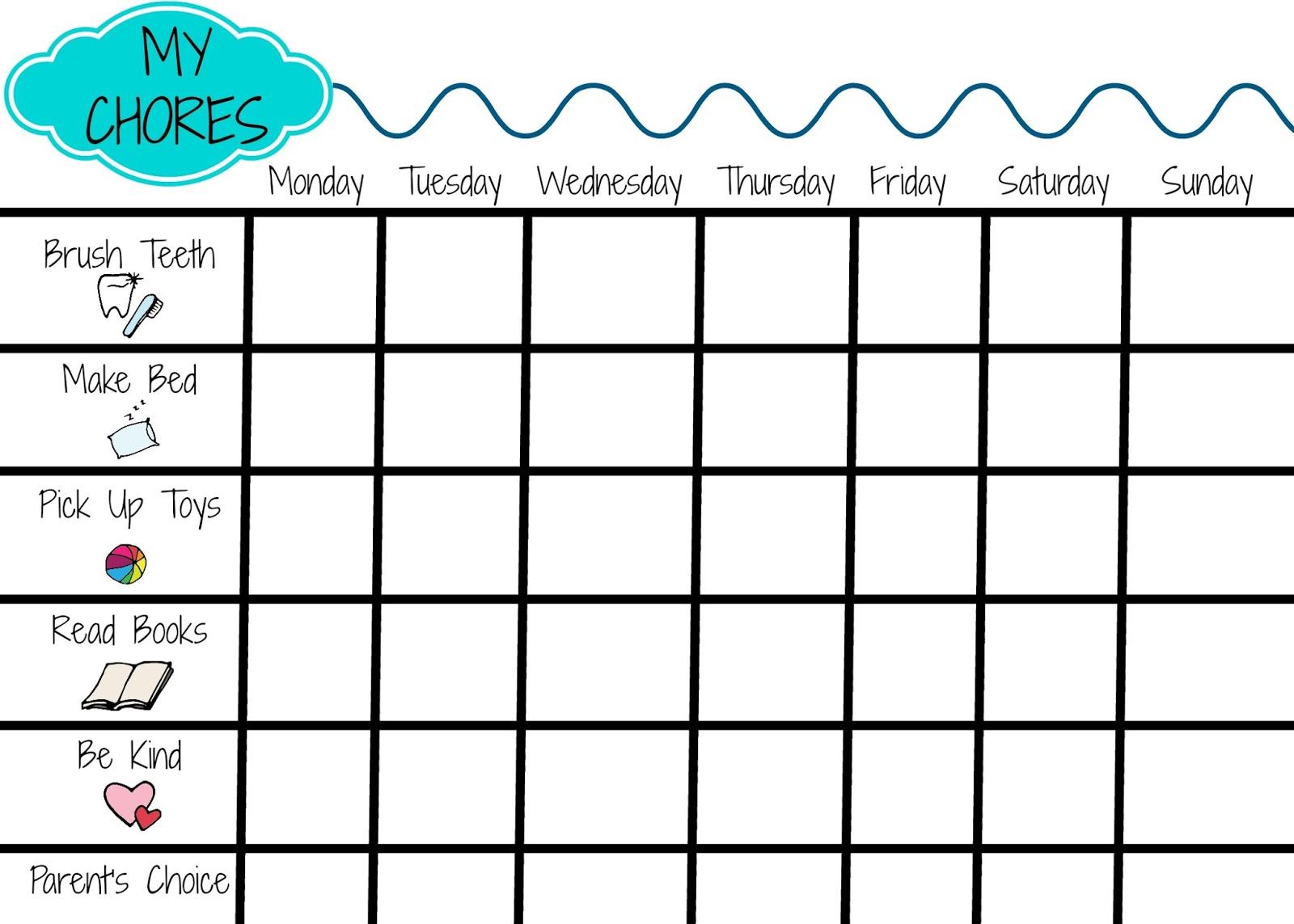 Kid Chore Charts Printable