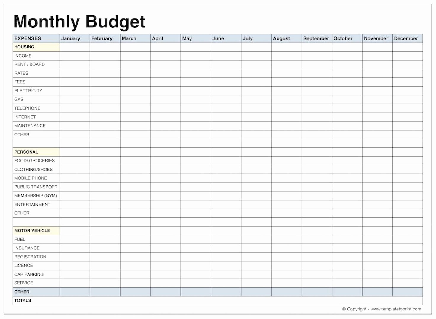 Monthly Budget Template Free Printable