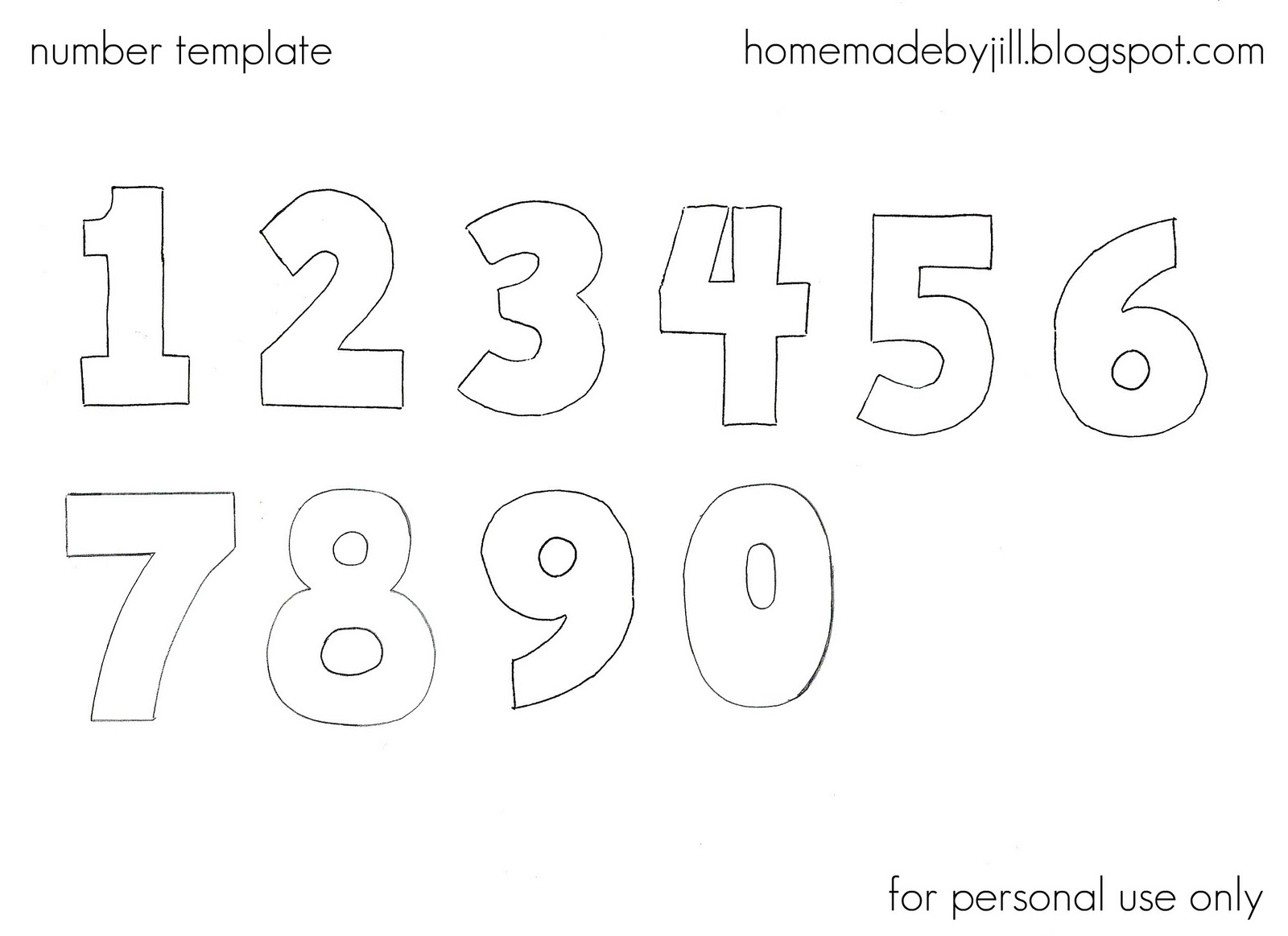 Number Templates Printable