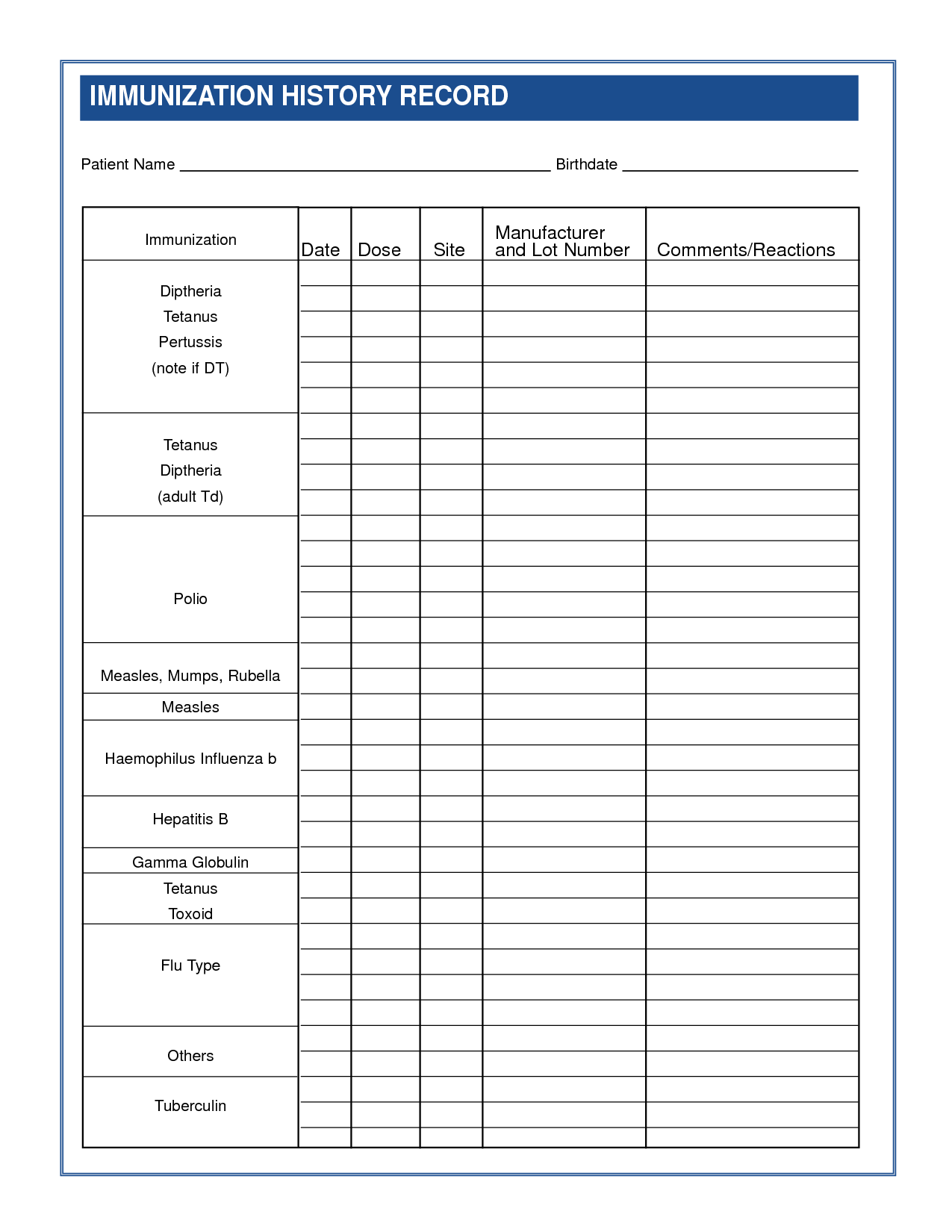 Pet Health Record Printable
