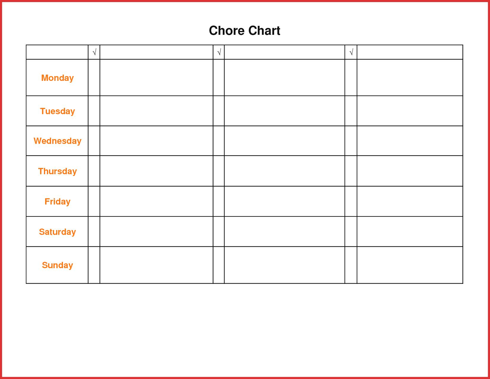 Printable Chore Chart For Teens