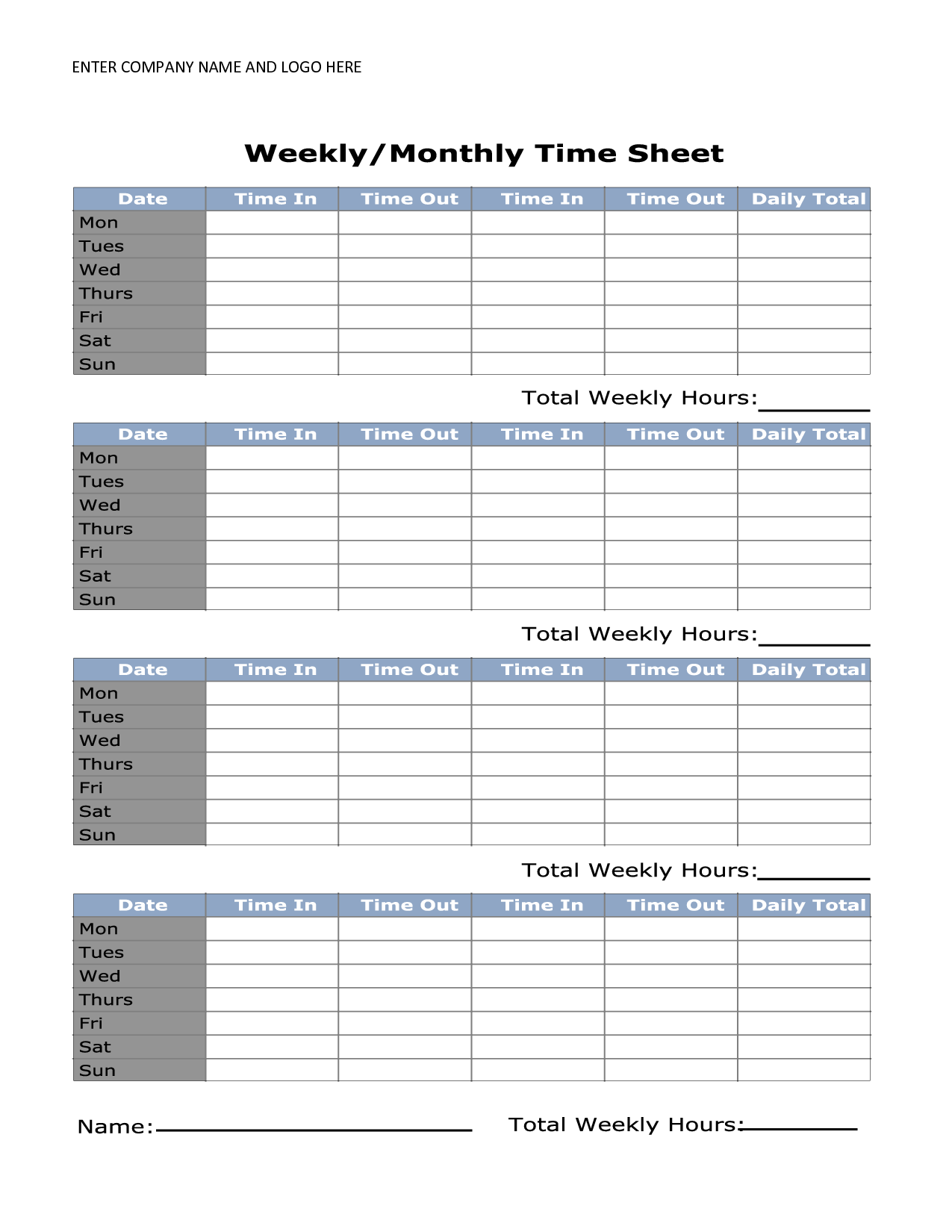 Printable Monthly Timesheet