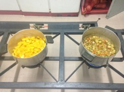 Cooking butternut and the stew for spaghetti with my host family