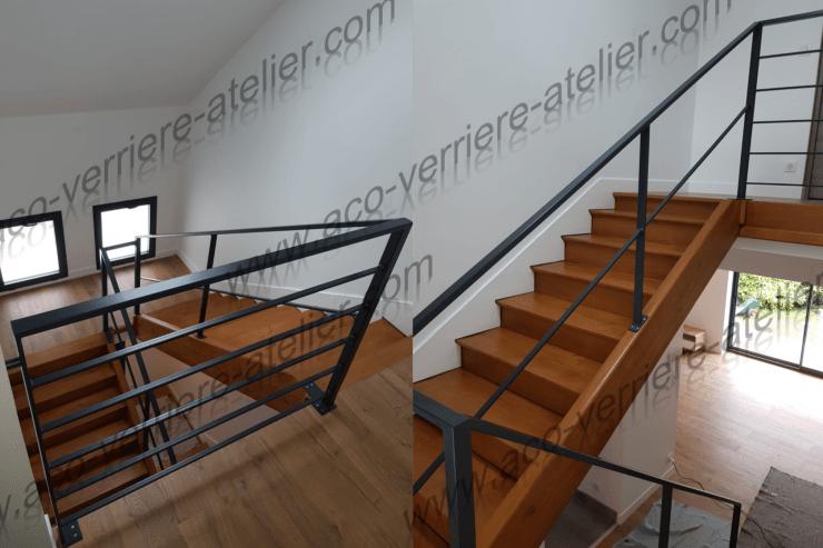 Magnifique escalier en bois habillé d'une rampre et d'un garde corps acier