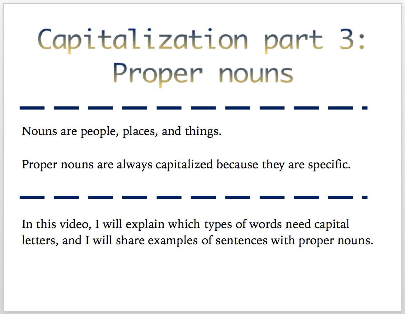 Capitalization Part 3 Proper Nouns