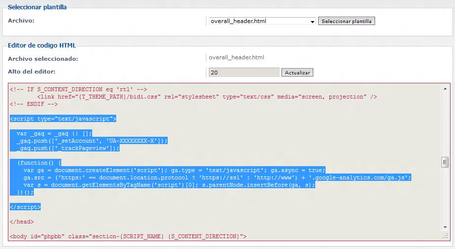 Insertar Google Analytics en phpBB | El blog de franz
