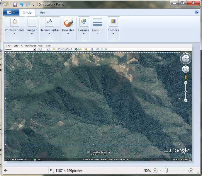 Recortar imagen de Google Earth
