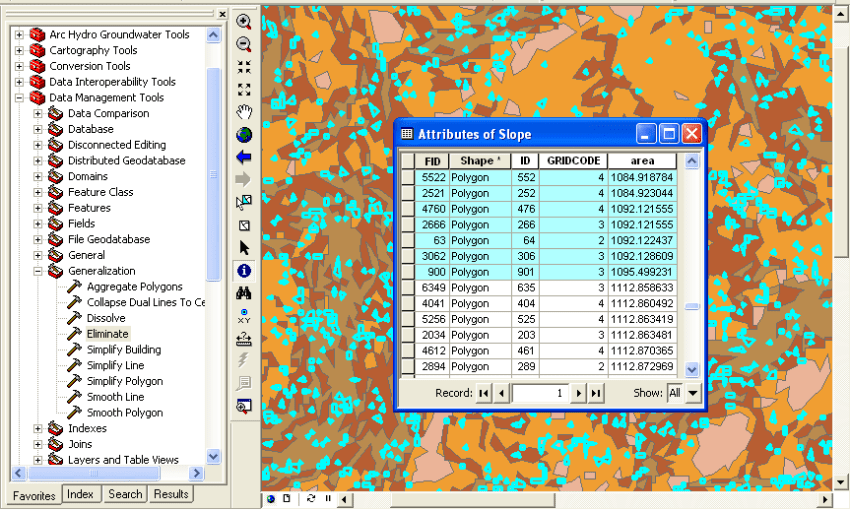 Seleccionar micro polígonos en la tabla de atributos en ArcMap