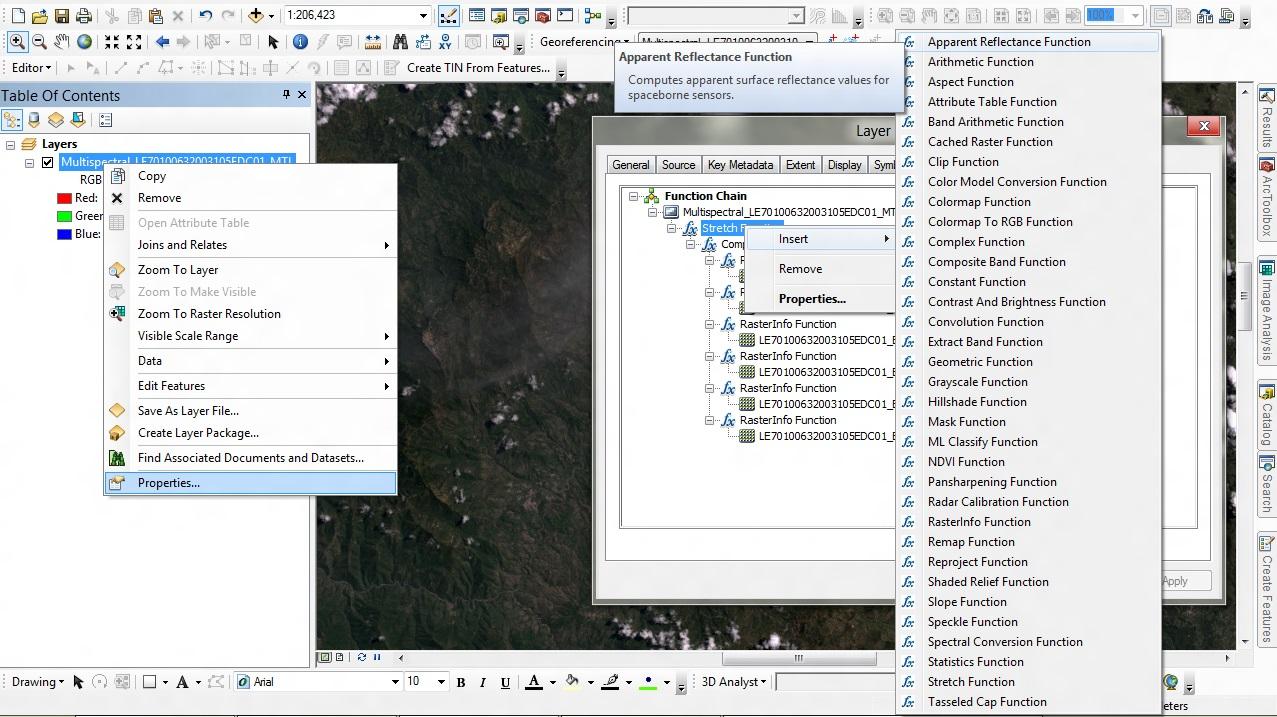 Función reflectancia aparente en ArcGIS 10.1