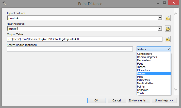 Point distance ArcGIS