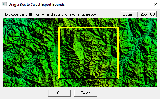 Drag a Box to Select Export Bounds