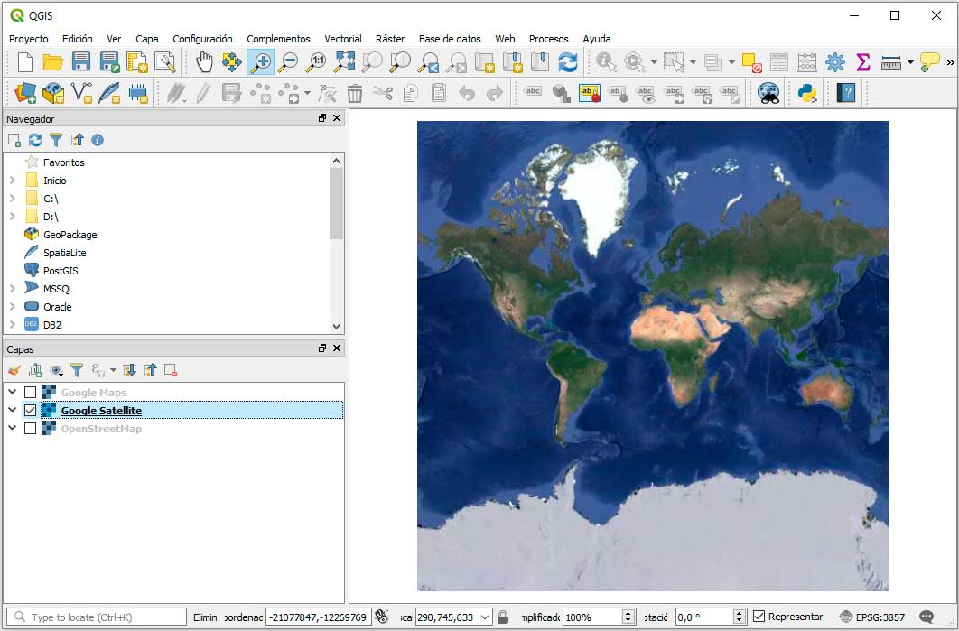 Google Satellite en QGIS 3