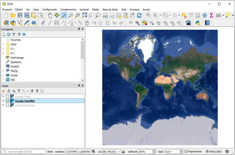 Google Satellite en QGIS 3