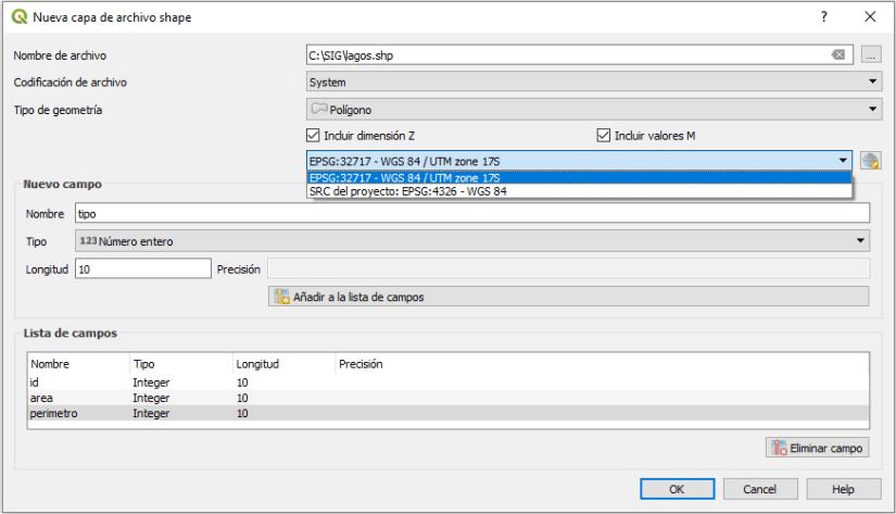 Nueva capa de archivo shape QGIS 3