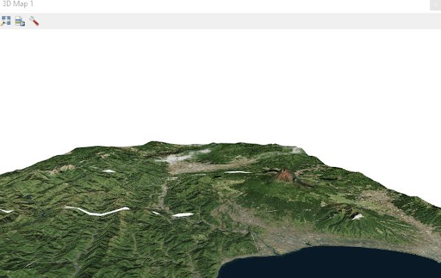 Vista en 3D de una imagen satelital en QGIS 3