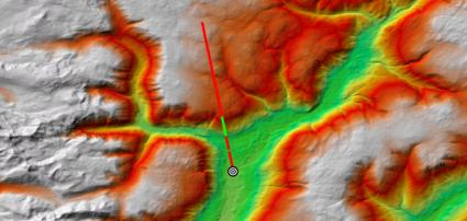 Línea de vista muestra lo visible (verde) y no visible (rojo) a lo largo de la línea.
