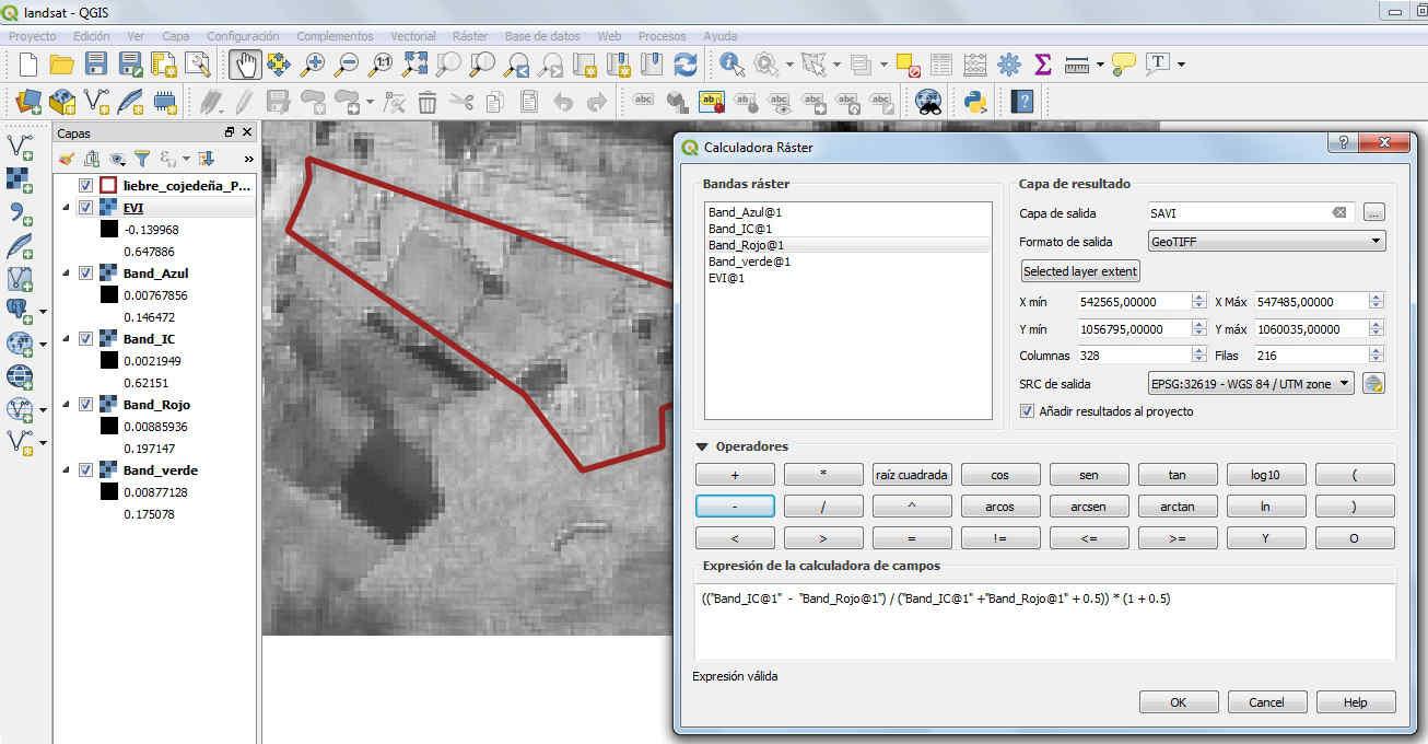Calculo del SAVI en una imagen Landsat 8