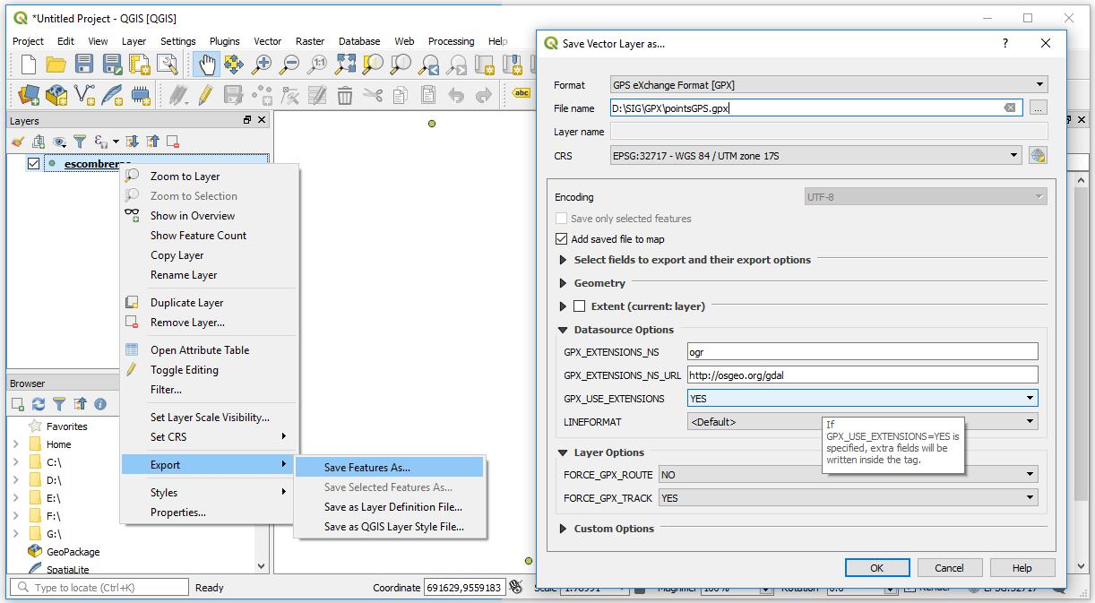 Convertir SHP a GPX en QGIS 3