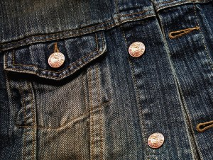 closeup of a denim jacket