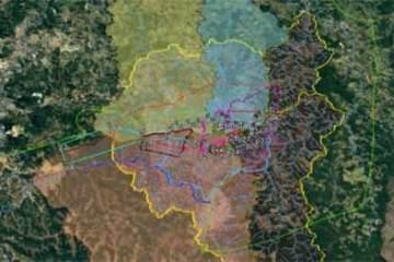 Foto de mapa da área abrangida pelo estudo