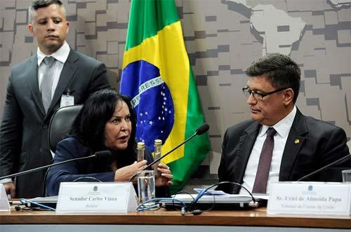 Foto da senadora Rose Freitas, presidindo a CPI)