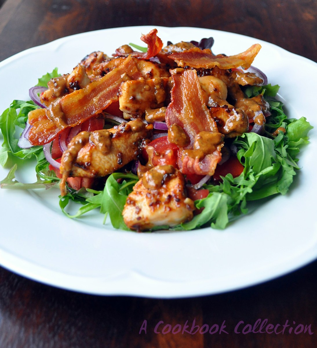Warm Chicken and Bacon Salad with Honey and Mustard Dressing