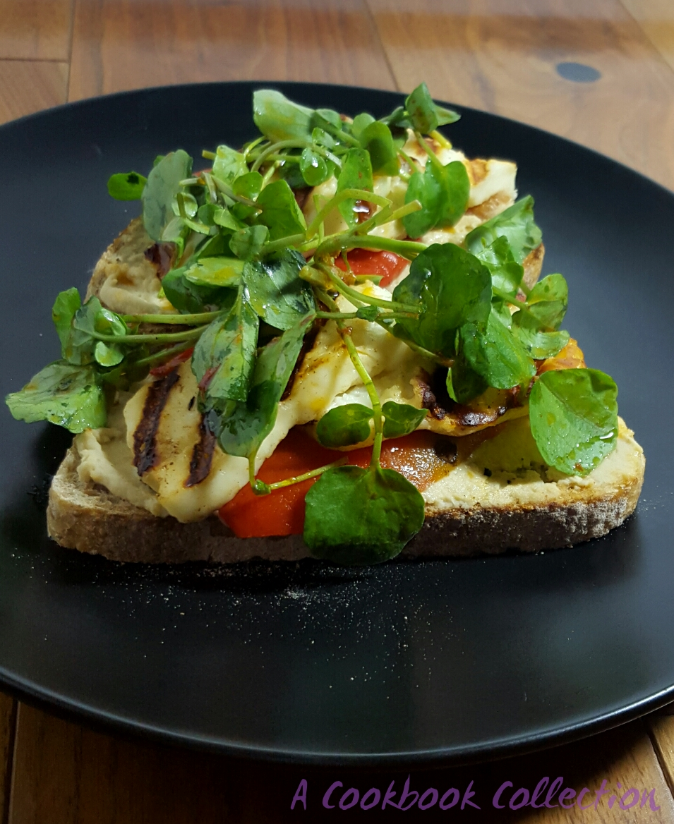 Grilled Halloumi with Pepper and Hummus on Sourdough Toast