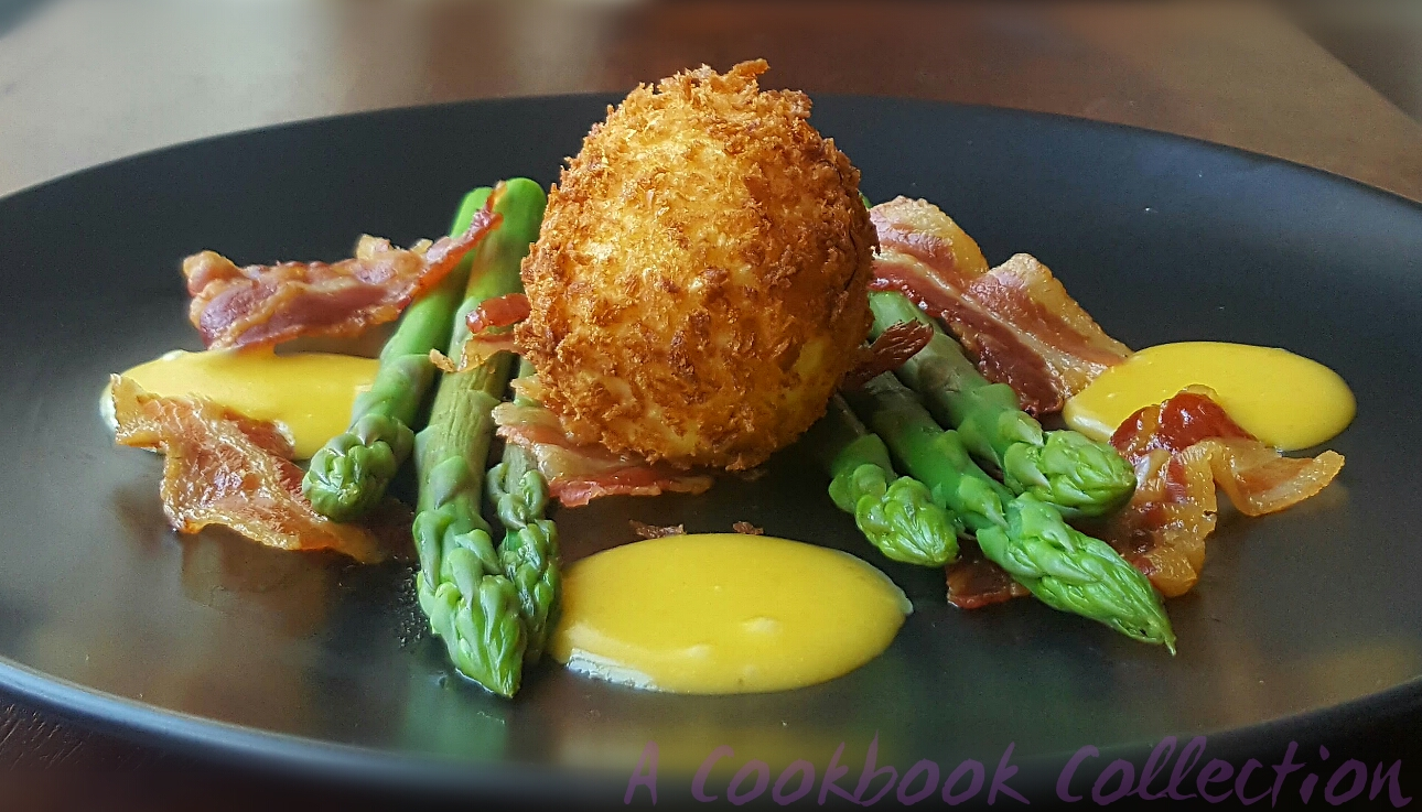 Asparagus Crispy Egg Pancetta Orange Hollandaise - A Cookbook Collection