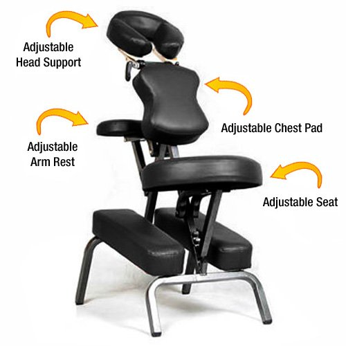 7. Ataraxia Deluxe Portable Folding Massage Chair w/Carry Case & Strap - Charcoal Black