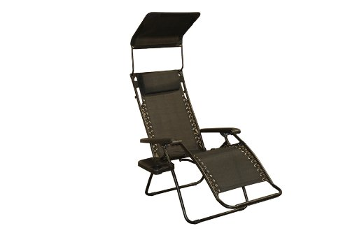 8. Bliss Gravity Free Folding Recliner with Sun Shade and Drink Tray