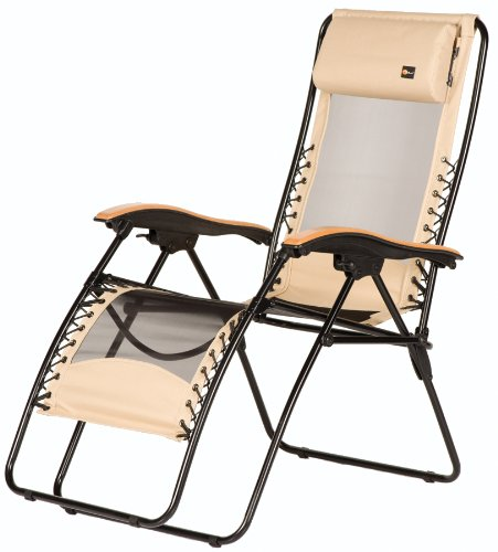 5. Faulkner 48970 Newport Style Beach Sand Recliner with Wood Armrests, X-Large
