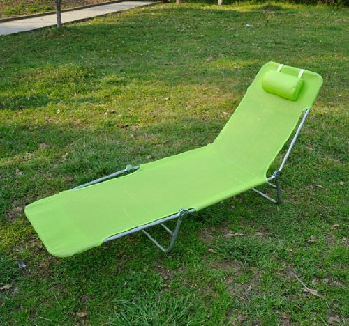 3. Outsunny Adjustable Reclining Beach Sun Lounge Chair, Green