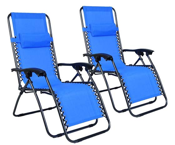 9. Polar Aurora 2pack Blue Color Zero Gravity Chairs Recliner Lounge Patio Chairs Folding