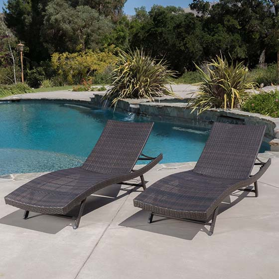 4. Eliana Outdoor Brown Wicker Chaise Lounge Chairs