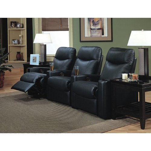 3. Coaster Showtime Collection Black Leather Motion Home Theatre Sofa Couch Chair