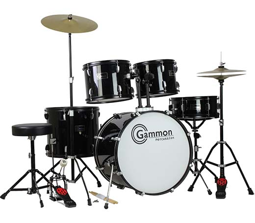 1. New Drum Set Black 5-Piece Complete Full Size with Cymbals Stands Stool Sticks